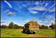 Last days of summer. (Pat Dalton...) Tags: blue trees summer sky tractor grass sunshine clouds canon fence weeds gate track shadows leicestershire straw sigma rope hedge fields trailer bales contrails 1770mm 450d peatlingmagna pdeee454