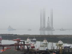 Ensco-70 fleet (Nekoglyph) Tags: mist industry water fog reflections boat fishing estuary rig tugs teesside supply tees drilling jackup southgare paddyshole ensco70 maersktackler
