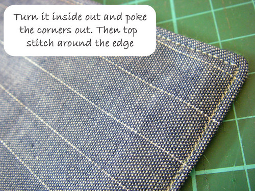 w6- Turn inside out and top stitch