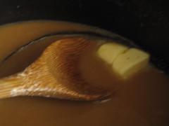 Butter chunks in caramel curd