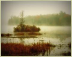 ~ island in the morning mist ~ (xandram) Tags: morning trees lake fog photoshop island legacy abigfave yourwonderland
