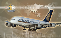 Wallpaper - Airbus A380 - Singapore Airlines - 1920x1200 (Photoshop CS5)