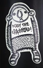 """Kosy The Crackhead"" (tombomb20) Tags: street urban streetart art graffiti sticker yorkshire leeds graff crackhead kosy kosythecrackhead kosystreetart"