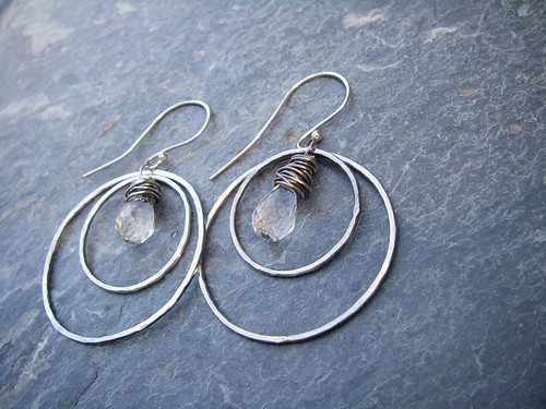 Antiqued, hand forged silver and glass briolette earrings
