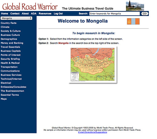 Screen shot of Global Road Warrior's home page.