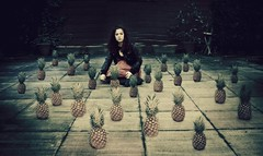 Day 158 - Fear of Odd Numbers (miriness) Tags: portrait selfportrait girl fruit outside weird random surreal numbers 25 pineapples phobia lightroom dodgeandburn featuredonadidapcom