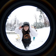 Me! (pgpanic) Tags: park trees winter dog selfportrait snow lauren nature weather playground sarah sisters digital snowman woods nikon lab frost swings freezing pug wideangle slide rob pitbull fisheye gloves flurries paths fullframe noelle 8mm element d3 bestfriends snowday snowballfight nikond3 nikonwideangle