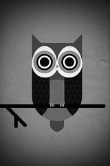 grey owl (Skinny Ships) Tags: white black geometric owl vector