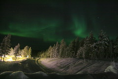 northern lights above the road to Muonio (Fredww) Tags: winter finland aurora lapland northernlights lappi pallas jeris muonio