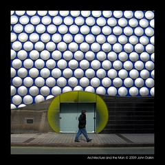 Architecture and the Man (Heaven`s Gate (John)) Tags: life street blue england abstract man art architecture modern silver circle star birmingham curves creative dramatic pedestrian sparkle architect selfridges round imagination disc 10faves jankaplicky 25faves johndalkin heavensgatejohn mywinners 19372009 architectureandtheman