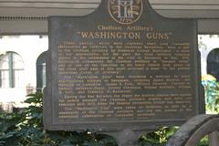 Savannah GA - Washington's Guns 1 (RNRobert) Tags: sign plaque georgia washington gun text chatham artillery savannah historicalmarker