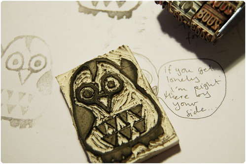 Carved owl stamp
