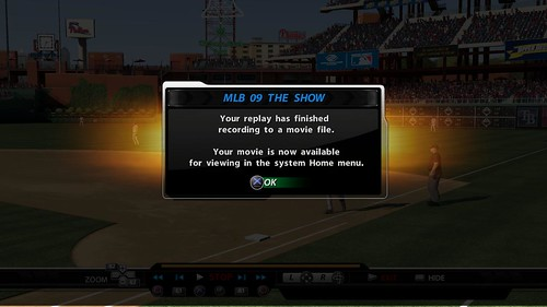 MLB 09 The Show screenshot- Movie is recorded