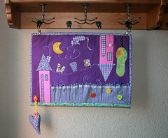 Hanging wall organizer (Ma.rysia) Tags: birthday pink moon house tree cute green yellow pen cat colours heart handmade buttons violet craft gift quilting patchwork applique holder marysia
