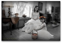 Bride And Flower Girl (Ronaldo F Cabuhat) Tags: life travel family flowers windows wedding friends light red vacation people orange plants white newyork tree green love window lamp colors beautiful beauty yellow canon table happy photography hope bride eyes colorful shine basket angle faces artistic pics joy memories arts creative picture happiness naturallight visit scene images photographs heater frame looks flowergirl lovely gown weddingdress sublime woodenfloor potted springtime selective weddingpicture weddinggown weddingphotography weddingentourage 300w basketofflowers springwedding canonefs1755mmf28isusm continuouslight pinoykodakero brideandflowergirl cabuhat canoneosd50