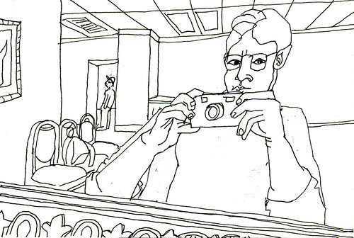 'Had He Noticed I Was Taking Pictures of Myself (Again)' contour line self-portrait in ink by San Francisco Bay Area artist Julia Kay. (Click to view same image larger.)