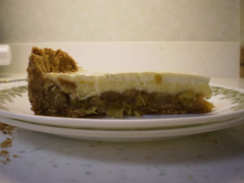 Rhubarb Cheesecake Pie slice