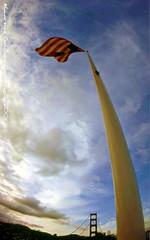 A Fisheye View of the Golden Gate Bridge and Flag Pole (lhg_11, 2million views. Thank you!) Tags: sanfrancisco california clouds nikon bridges americanflag fisheye goldengatebridge skyascanvas ggnpc11