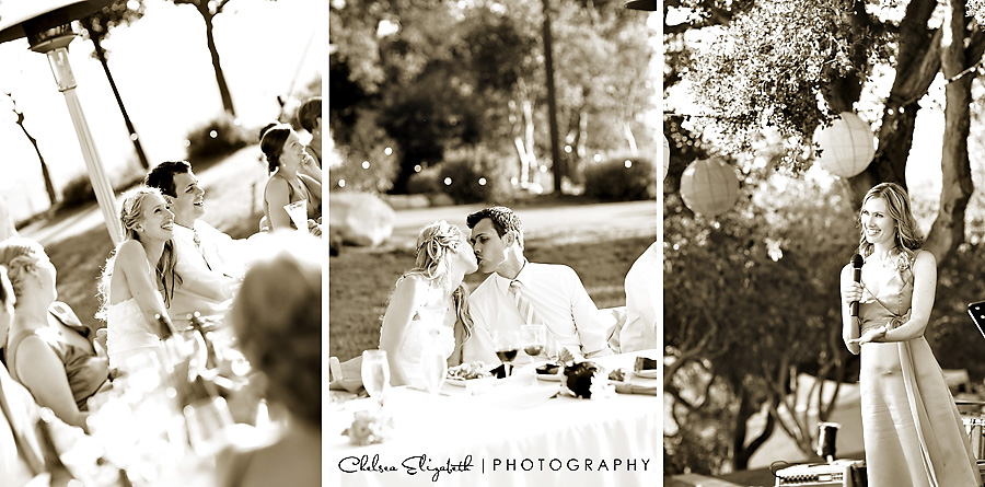 sepia toasts godric grove elings park bride and groom kiss at head table