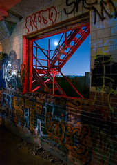 Fiery Escape (Noel Kerns) Tags: abandoned night fire ruins texas escape fort packing meat rob worth swift fuel
