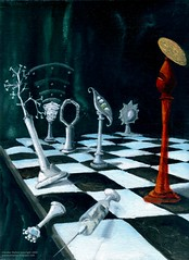 Science-Chess Accommodating Religion (The Flying Trilobite) Tags: atheism religion chess darwin science oilpainting glendonmellow