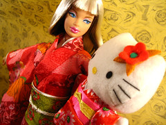 Dancing Together! (I Doll You) Tags: hellokitty sanrio kimono happymeal modelmuse hellokittybarbie