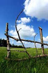 Stick to It (Bhlubarber) Tags: county sky canada clouds fence sticks fluffy alberta prairie carvel davidniddrie