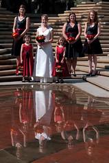 Reflective Bridal Party (djking) Tags: wedding red woman white canada reflection calgary water wow bride women alberta teresa bridalparty flowergirls mcdougalcenter