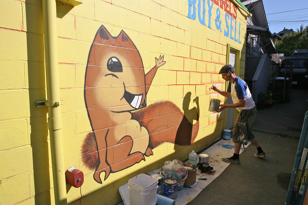Muralist at Work