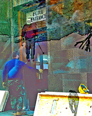 Enter & Freeze (tomswift46 ( Hi Res Images for Sale)) Tags: street hardhat dog snow hotel boards vermont transformation overlay pole camouflage worker brattleboro skier hdr awardtree