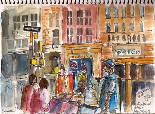 Sketchcrawl 24: View of Union Square streets