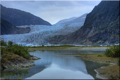 Magnificent Mendenhall Glacier (Jill Clardy) Tags: cruise blue mountain lake ice alaska reflections landscape day cloudy glacier juneau 100views inside iceberg 500views passage hdr silt mendenhall topaz 1000views 0909 photomatix 2146 2145 2144 ©2009jillclardy