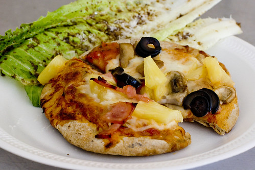 ww pita pizza with dressed romaine
