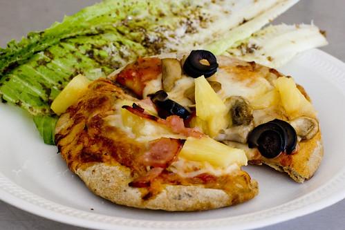ww pita pizza with dressed romaine