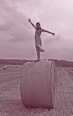 Hay, I believe I can fly. (sweetkendi) Tags: me countryside hay balesofhay