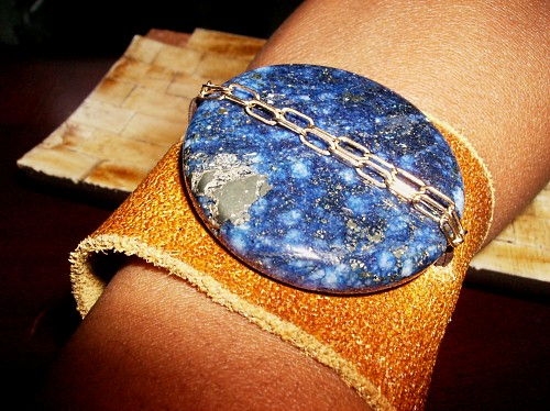 Lapis Gemstone Leather Cuff
