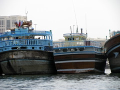 Dhows parked abreast on Dubai Creek