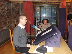 David preparing to record his lines as Bodo prepares the sound