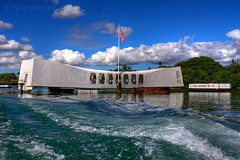 USS Arizona Memorial (Tyler McCall) Tags: blue clouds hawaii memorial remember wwii pearlharbor honolulu hdr ussarizona photomatix canonrebelxs canonefs1855mmf3556is canoneos1000d tylermccall