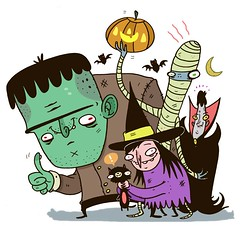 Happy Halloween! (TheGrossUncle) Tags: moon holiday silly color art halloween illustration pen ink cat photoshop pumpkin scary flickr flat graphic witch vampire internet cartoon dracula creepy frankenstein marker sharpie mummy bats fright caricatures grantgilliland thegrossuncle