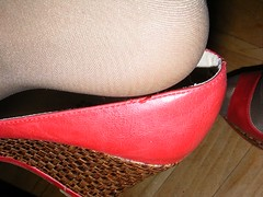 a2 (takanowaka) Tags: red feet closeup high shoes highheel highheels toe open legs dirty used messy worn heels heel closeups pantyhose wedge wedges