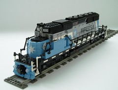 Maersk locomotive (1) (Mad physicist) Tags: train lego engine locomotive minifig minifigure maersk sd402