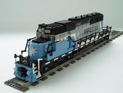 Maersk locomotive (1) (Mad physicist) Tags: train lego engine locomotive minifig minifigure maersk sd402