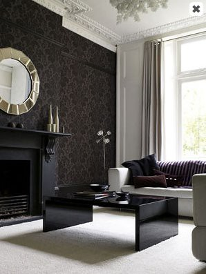 damask_wallpaper_black_living_room_carpet
