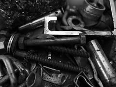 Licorice assortment? odds and sods b&w (Gazman_AU) Tags: bw thread metal screws shed bolt