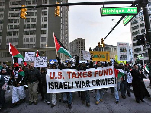 March downtown in Detroit opposing the Israeli siege of Gaza on January 8, 2009. Thousands protested in solidarity with the Palestinian people. by Pan-African News Wire File Photos