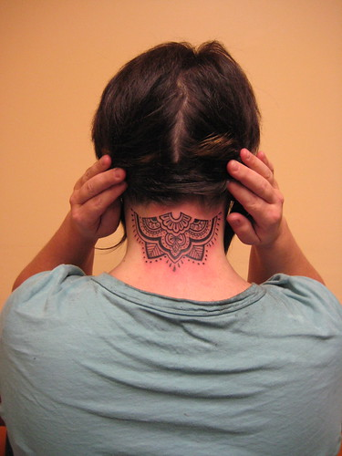 Mehndi Neck Tattoo