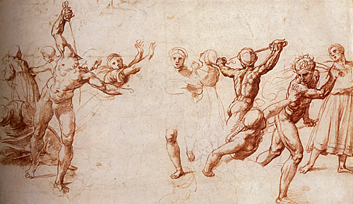 1510  Raphael    Study for the Massacre of the Innocents  Red Chalk  24,6x41,3 cm  Londres, The Royal Collection