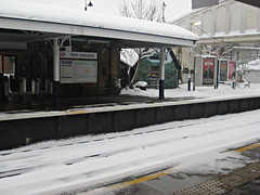 Kew Gardens Station in Snow
