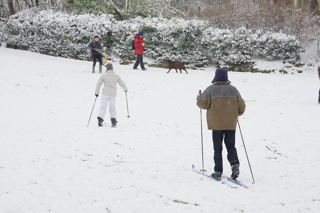 Skiers in St Annes Well Gardens